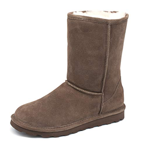 BEARPAW Elle Short Mid-Calf Boots for Women Exclusive Colors with Stain Repellent Treatment brown Size: 8 UK
