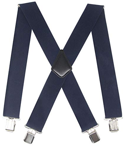 Mens 2 Inch Wide Suspenders Heavy Duty Strong Clips Adjustable Elastic Braces Big and Tall X-Back (Navy)