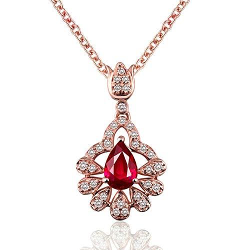 Bishilin Colgante de Cadena de Oro Rosa de 18K, Forma de Gota Y Flor Collares Pendientes 0.56ct Rubí Elegante Collar para Mujeres Niñas para Cumpleaños Navidad para Cumpleaños Navidad Oro Rosa