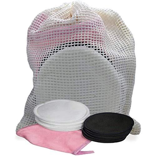 Coton démaquillant visage et yeux en fibre de bambou et coton - 10 pièces - Lavable en machine et réutilisable avec le sac de lavage - 1 mini gant démaquillant offert - lot serviettes demaquillante