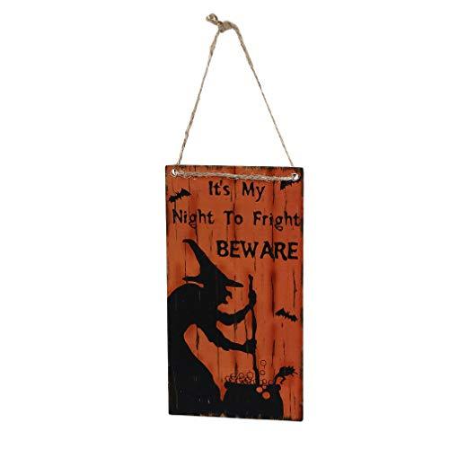 unknow LHaiYing Halloween hängendes Brett hölzerne Hexendruck hängende Zeichen-Party-Dekorations-Lieferungen