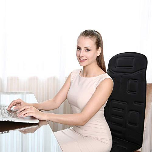 Naipo Schiena Massaggio Cuscino Sedile Massaggiante Elettronico Massaggiatore con 8 Vibratori Motorizzati 4 Modalità di Massaggio 3 Velocità Funzione Calore Per Casa Ufficio Auto