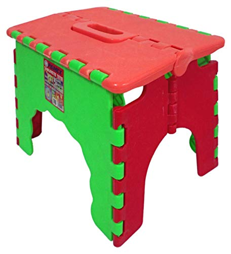 PAMEX - Taburete Silla Infantil Antideslizante con Sistema Plegable Asa de Transporte (Rojo)