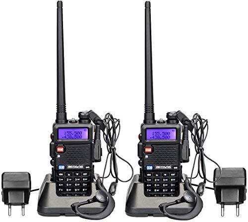 Retevis RT5R Walkie Talkie Profesional Doble Banda 128 Canales Alcance de hasta 5 KM DTMF Radio FM VOX CTCSS/DCS Transmisores-receptores Radio Bidireccional con Auricular (Un par, Negro)