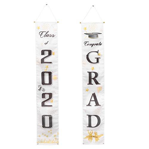 VALICLUD Chic 1 Paar Klasse von 2020 Hanging Sign Graduation Theme Party Druck Veranda Sign Letter Printing Vordertür Vorhang Klassenzimmer Tür Banner Prom Party Dekoration