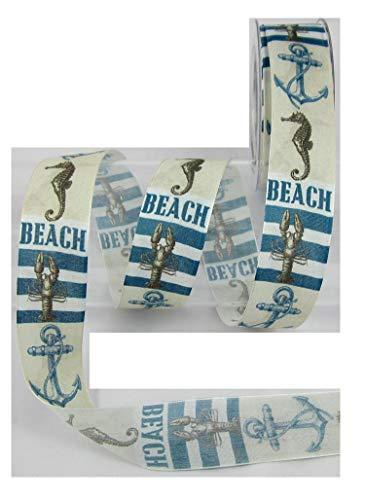 Beach, Maritim, Strand, mit Draht, Basteln, Druckband, Dekoband, Meterware, 1 meter