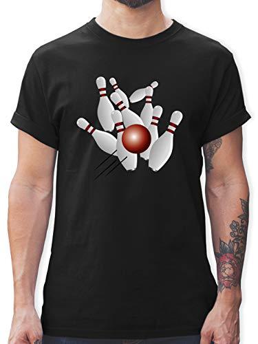 Bowling & Kegeln - Kegeln alle 9 Kegeln Kugel - XL - Schwarz - kegelspiel - L190 - Tshirt Herren und Männer T-Shirts