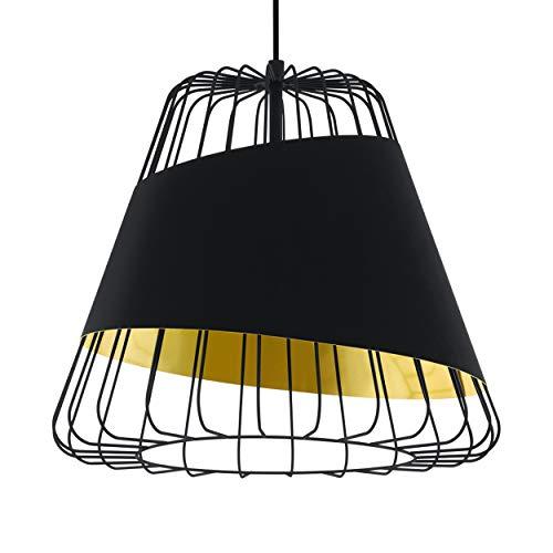 EGLO Suspension Austell, 1 ampoule, suspension industrielle, vintage, en acier et textile noir, or, lampe de salle à manger, lampe de salon suspendue avec douille E27, Ø 43 cm