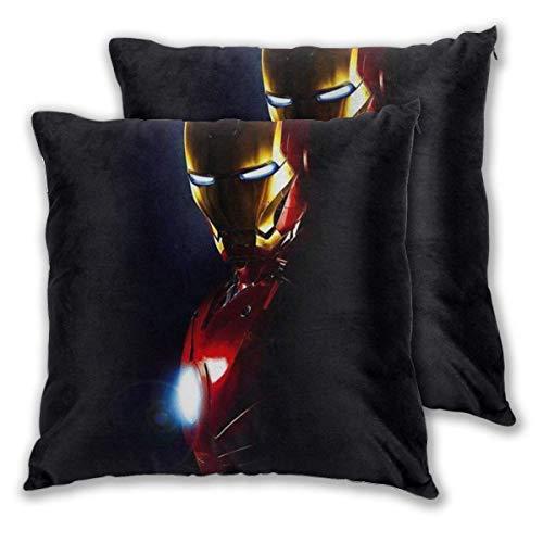 MISS-YAN Iron Man - Funda de cojín decorativa para cama, silla, sofá, 2 unidades