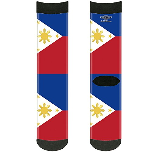 Buckle-Down Unisex-Adult's Socks Philippines Flags Crew, Multicolor