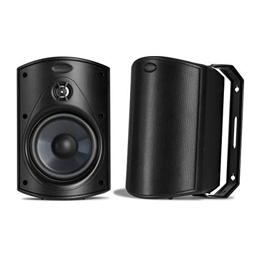 Polk Audio Atrium 5 Outdoor Speakers with Powerful Bass (Pair, Black) - All-Weather Durability | Broad Sound Coverage | Speed-Lock Mounting System