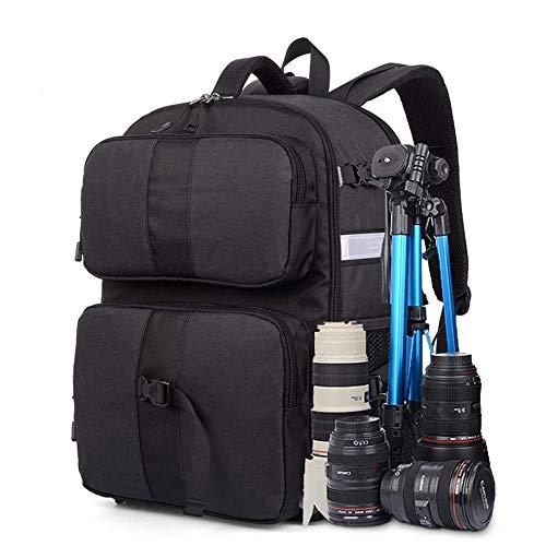 WHSS - Zaino da viaggio impermeabile per fotocamera SLR da viaggio, borsa per fotocamera antiurto per fotocamere Sony Canon Nikon e accessori per treppiede, 31 x 22 x 47 cm, colore: nero
