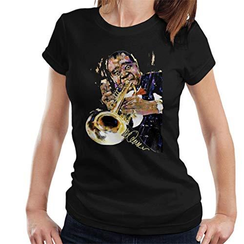 VINTRO Louis Armstrong mit Trompete Damen T-Shirt Original Portrait von Sidney Maurer professionell bedruckt Gr. Large, Schwarz