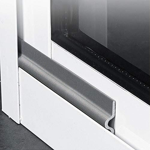 118 Inch Window Draft Stopper Foam Seal Strip Self Adhesive, Window Insulation and Door Side Weather Stripping Soundproof, Door Bottom Sweep Noise Gap Blocker (T Shpae, Grey)