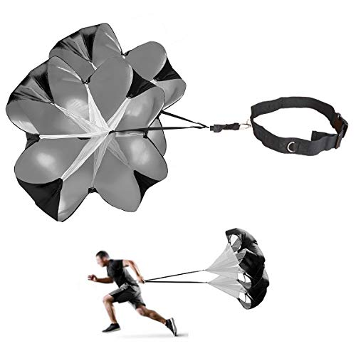 JEELAD Speed Training Resistance Parachute Running Chute Power for Football Overspeed Training (Black (Upgrade) - with 2 Chutes, 56 Inch)