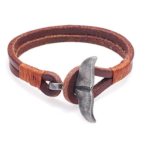 WXYBF Armband Vis Staart Bedel Sluiting Dubbele Lagen Gevlochten Blauw Zwart Bruin Kleuren Lederen Touw Armbanden
