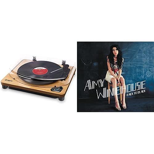 Ion Audio Air Lp Wood - Tocadiscos De Vinilo Bluetooth - Reproducción Inalámbrica Y Conversión De Discos De 3 Velocidades - 33 1/3, 45 Y 78 Rpm, Acabado Madera + Back To Black [Vinilo]