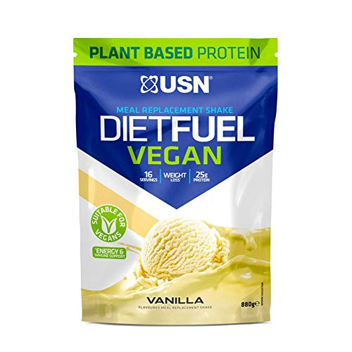 USN Diet Fuel Vegan Protein Shake, Meal Replacement, High Protein, 100 Percent Plant Protein Meal with 26 g Of Protein, Vanilla, 880 g