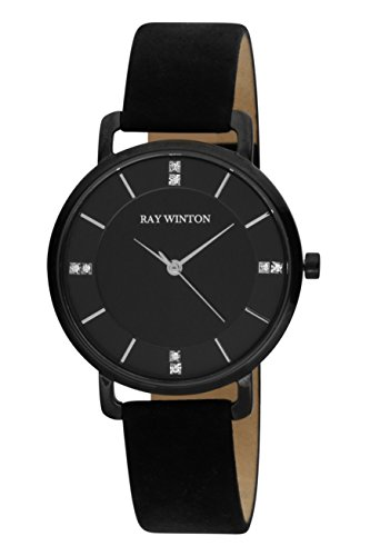 Ray Winton donna WI0807Diamond Slim analogico quadrante nero cinturino in pelle scamosciata colore nero
