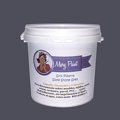 Mary Paint   Pintura para muebles efecto Chalk Paint, Gris Pizarra - 750ml