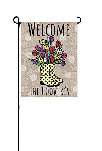 NoBrands - Bandiera decorativa da giardino con tulipani e scarponi da pioggia