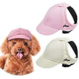 Yikeyo Dog Hat for Small Dogs Dog Sun Hats with Ear Holes, Pet Puppy Baseball Cap for Summer,Set of 2 Dog Visor Caps (Pink+White, Small)