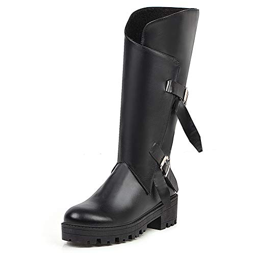 SheSole Damen Stiefel mit Gürtelschnalle Emo Punk Boots mit Hohe Absatz Plateau Schwarz Gr 42