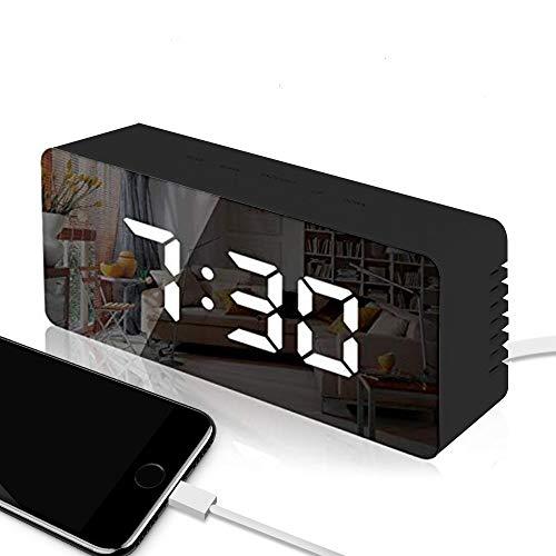 Trongle LED Reloj Despertador Digital, LED con Pantalla LED de Temperatura y Tiempo de Repetición, Brillo Ajustable, USB y Funciona con Pilas para Dormitorio, Negro(Versión Actualizada)