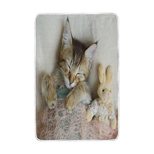 Lit Couverture, Luxe Chat endormi doux Polyester avec grande taille Polaire pour Jeté Canapé Voyage Chambre à coucher Salon Adulte Fille Garçon Homme Femme 152,4 x 228,6 cm