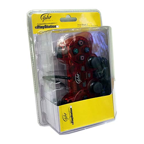Yobo Twin Shock 2 Vibration Wired Controller for Playstation 2 PS2 (Red)
