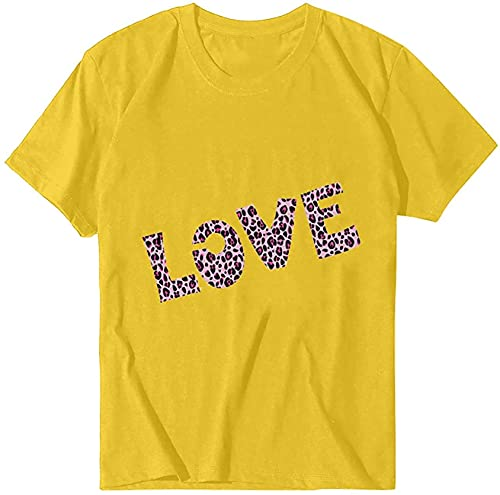 WUHONZS 2021 Valentinstag Damen T-Shirt Mode Casual Letter Print Short Seeve Solid Color Loose Tunics O-Neck Tops Bluse Gr. Small, gelb