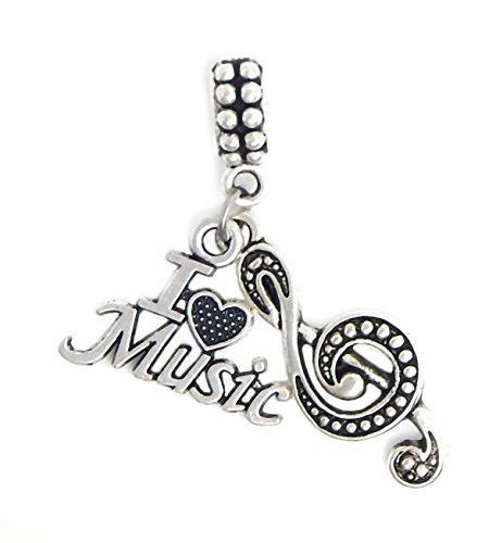 J&M Dangle I Love Music Charms Bead for Charms Bracelets