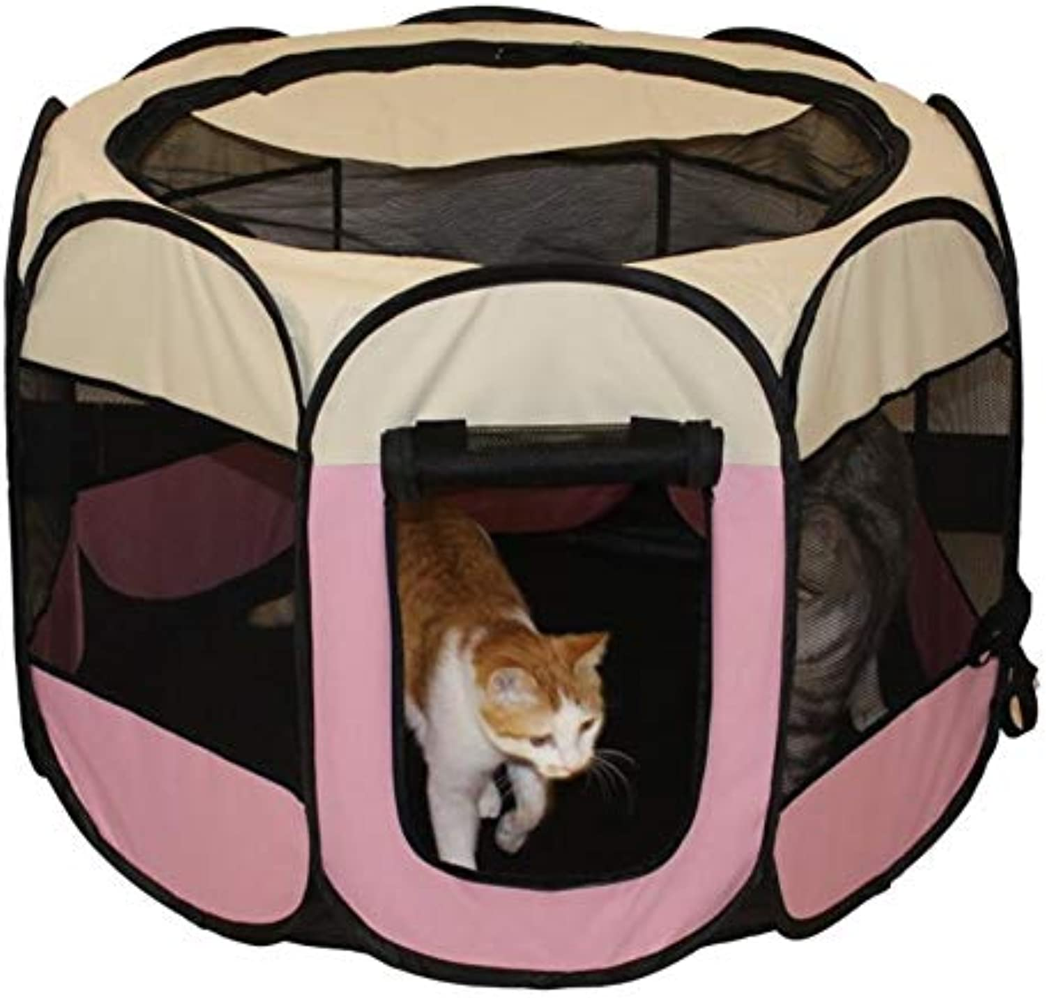 AMhuui Portable Foldable Pet Playpen,Premium Playpen Indoor Outdoor, Dog Cat Puppy Exercise Pen Kennel, Nest with Mat Dog Cat Bed House for Dogs