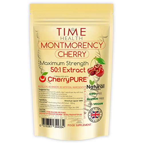 New: Montmorency Cherry Capsules - Maximum Strength 50:1 Extract - 17500mg Raw Cherry Equivalent per Capsule - CherryPURE - Tart/Sour Cherries - Vegan - No Additives (120 Capsule Pouch)