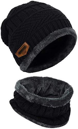 Gebreide muts muts zwart cirkel sjaal outdoor sport hoed sets