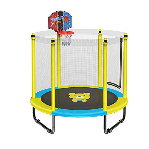BLWX LY Trampolin mit Basketballkorb, Trampolin for Kinder mit Sicherheitskabine Net, Geburtstagsgeschenke for Kinder, 250 kg Last (Farbe : Gelb)