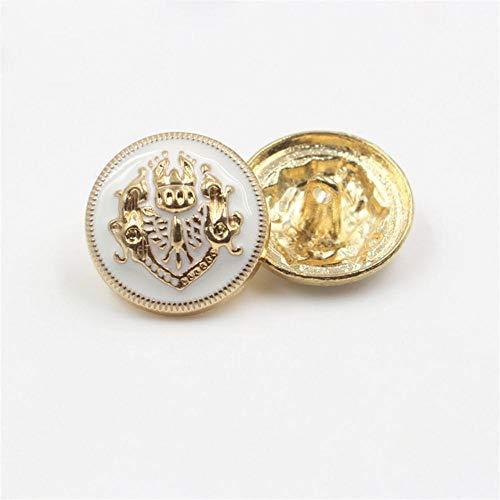179164, mode metalen gouden knop, diy handgemaakte kledingaccessoires, jas pak kleding naaien schacht knoppen, 10st, wit goud, 22mm