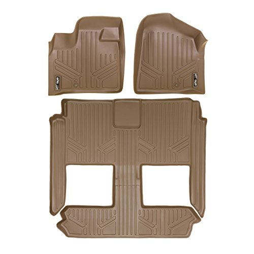 MAXLINER Floor Mats 3 Row Liner Set Tan for 2008-2018 Dodge Grand Caravan / Chrysler Town & Country (Stow'n Go Only)