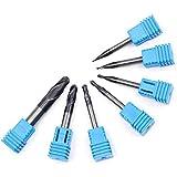 GJNVBDZSF Kit de reparación 7 Piezas Radius Ball Nose 2 Flautas Vástago Espiral Ranuras Profundas Router bits para fresadora CNC Fresas de Alivio Tallado de Extremos