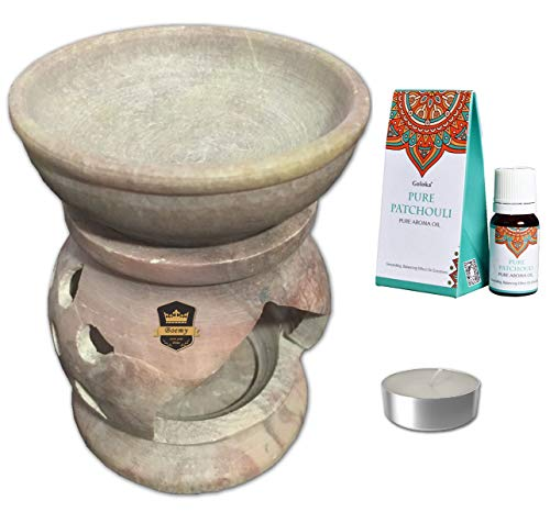 Bruciatore di oli essenziali per aromaterapia, in pietra, stile artigianale, include 1 olio Goloka Pure Patchouli + 1 candela