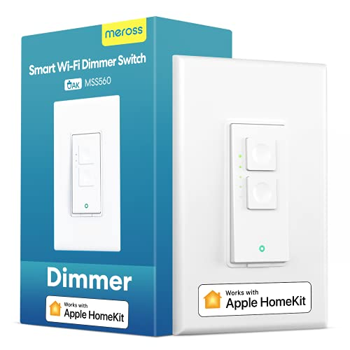 meross Smart Dimmer Switch Single Pole Supports Apple HomeKit, Alexa Google Assistant & SmartThings, 2.4Ghz WiFi Light Switch for Dimmable LED, Neutral Wire Required, Remote Control Schedule, 1 Pack