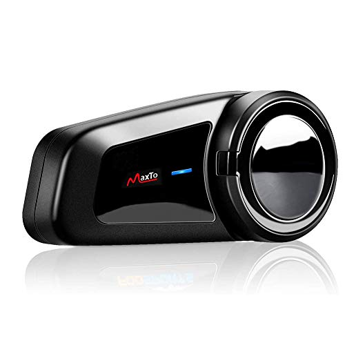 QSPORTPEAK M2 interfono Moto, Moto Auricolare Bluetooth con FM, interfono Bluetooth per Moto Fino a 6 Riders, Casco interfono Bluetooth con cancellazione del Rumore, Comunicazione Bluetooth per Moto