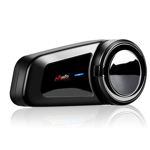 QSPORTPEAK M2 Motorrad Gegensprechanlage Headsets Motorradhelm Intercom Wasserdicht Wireless Interphone mit Bluetooth 5.0 Freisprecheinrichtung bis zu 6 Benutzern (Wasserdicht, FM Radio, Voice Prompt)