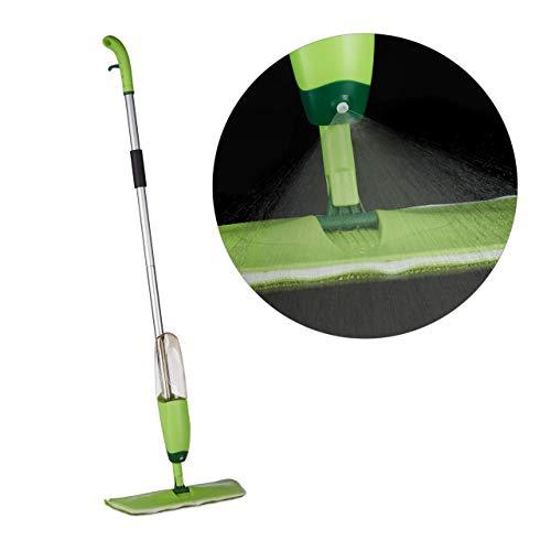 Relaxdays Spray Mop, Sprühfunktion, abnehmbarer Tank, Klett Wischbezug, Sprühwischer, HxBxT: 130x40x14 cm, grün/silber