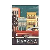 Havanna, Kuba, Gebäude & Oldtimer, Vektor-Leinwand-Poster,