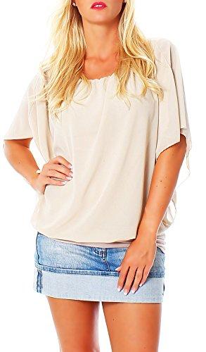 Damen Bluse im Fledermaus Look | Tunika mit Rundhals und breitem Bund | Blusenshirt Kurzarm | Elegant - Shirt 6296 (beige)