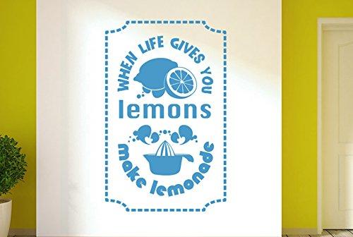 CUT IT OUT When Life Gives You Lemons Machen Sie Limonade Wand Sticker Kunst Aufkleber–Groß (Höhe 90cm x Breite 57cm) blau