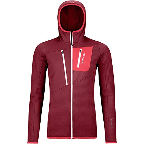 Ortovox Damen Hoody Fleece Grid, Dark Blood, S, 8720100017