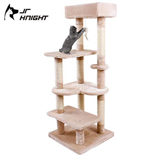 JR Knight CT8069GE Cat Towel Cat Tree, Multi-level Cat Furniture Cat Play House Cat Activity Center with Condo, Hanging Toy Mouse and Sisal Scratching Posts (Grey)