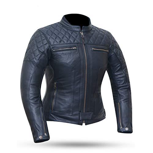 DEGEND CLASSIC LADY   Chaqueta de Cuero Mujer   Chaqueta de Moto con Protecciones Extraíbles - Chaqueta de Piel - Ropa de Motociclista - Chaqueta Motera Mujer Color Negra - Tallas (XS-XXL)